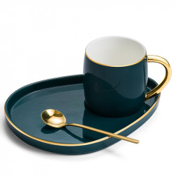 Gold Rimmed Coffee Cup Set