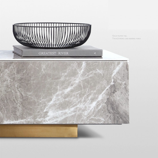 ZFU-8 Luxury Glossy Surface Marble Coffee Table TV Cabinet